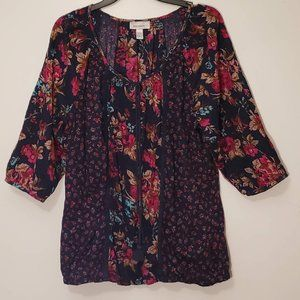 Dress Barn Womens 18/20 Floral Blouse Scoop Neck